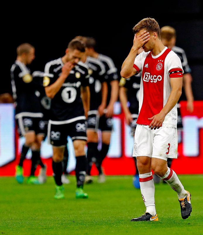 Joel Veltman na de 0-1 van Rosenborg.
