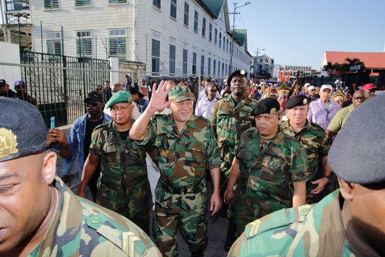 De Surinaamse president Desi Bouterse verscheen woensdag in militair tenue voor de Krijgsraad.  Beeld ANP