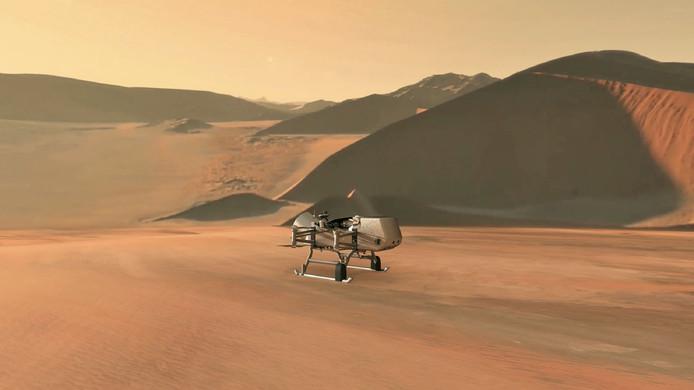 Een door de NASA vervaardigde illustratie van de drone Dragonfly op het oppervlak van Titan.