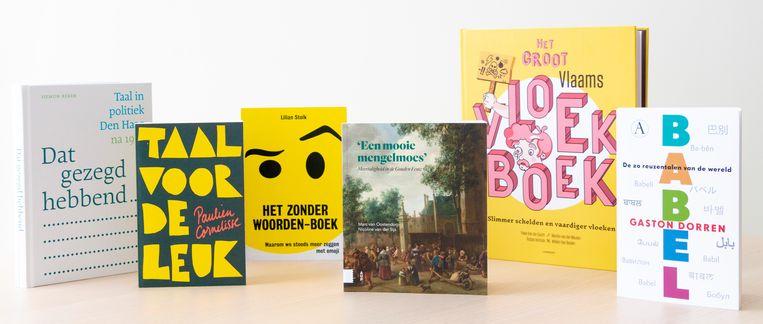 De boeken op de shortlist van de Taalboekenprijs. Beeld