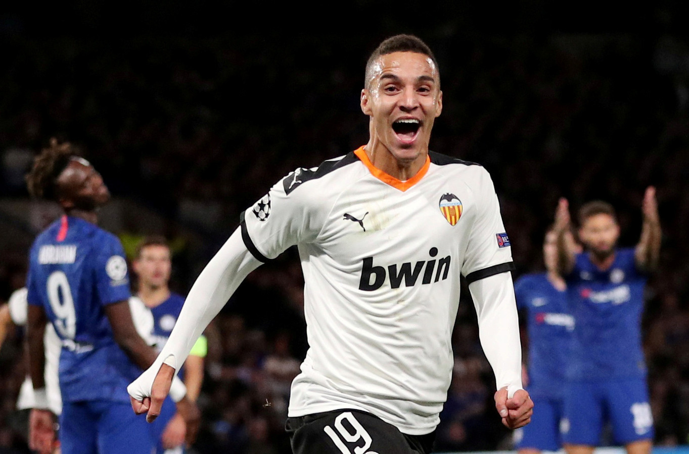 Rodrigo Moreno juicht na zijn treffer in de Champions League tegen Chelsea.