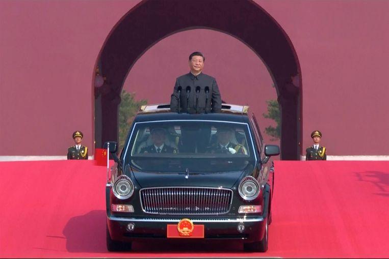 Xi Jinping tijdens de 70ste verjaardag van de Volksrepubliek China.  Beeld AP