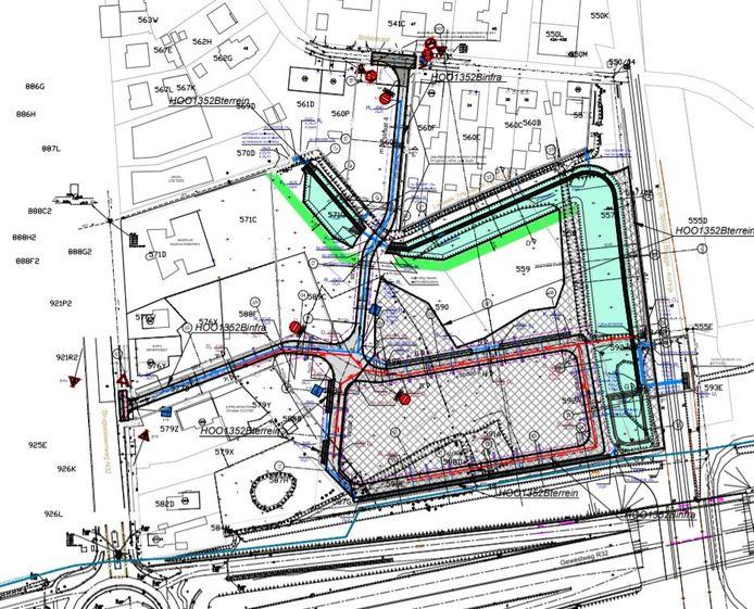 Het wegentracé van de nieuwe ambachtelijke zone tussen de ovonde op de Brugsesteenweg en de Bollestraat