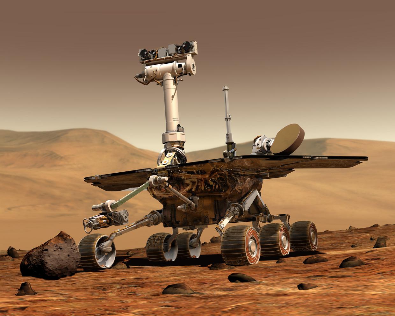 Tekening van Marskarretje Opportunity op het oppervlak van Mars Beeld Nasa