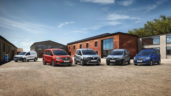 Renault onthult de nieuwe Kangoo en Express: uiterst links de elektrische versie, de personenwagenvarianten komen niet naar Nederland