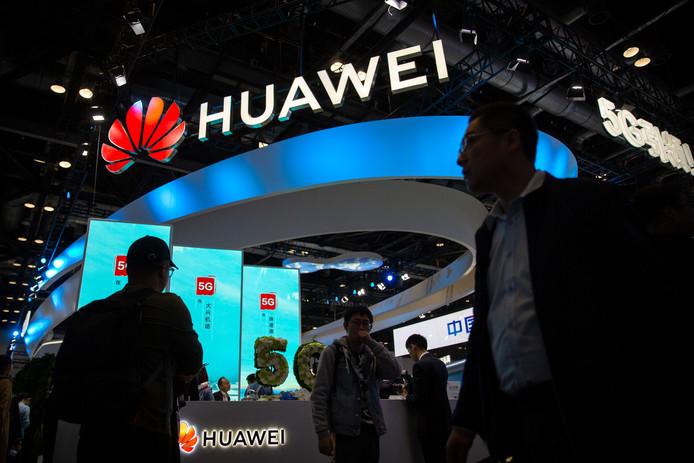 Het 5G-paviljoen van Huawei op de technologiebeurs PT Expo in Beijing.
