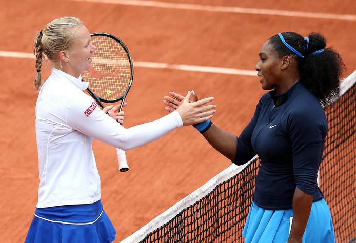 Kiki Bertens op Roland Garros met Serena Williams.