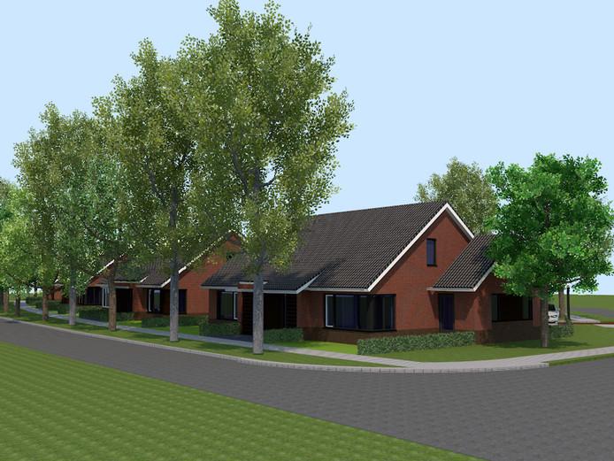 3D-impressie van de woningen die worden gebouwd op de plek van de Jenaplanschool in Beltrum.