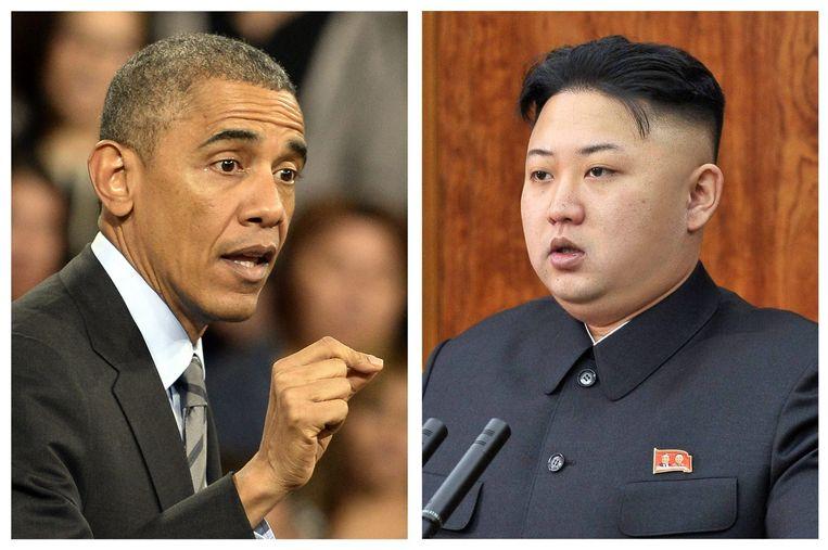 Amerikaanse president Barack Obama en Noord-Koreaanse leider Kim Jong-un. Beeld anp