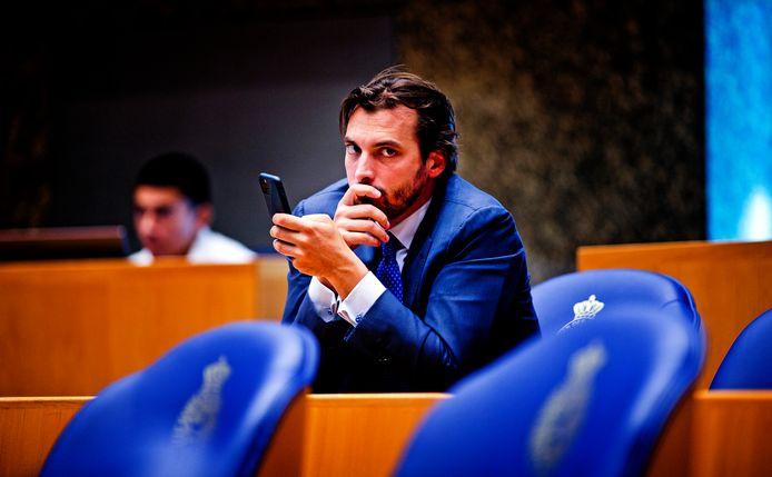 Thierry Baudet tijdens het debat over de coronacrisis.