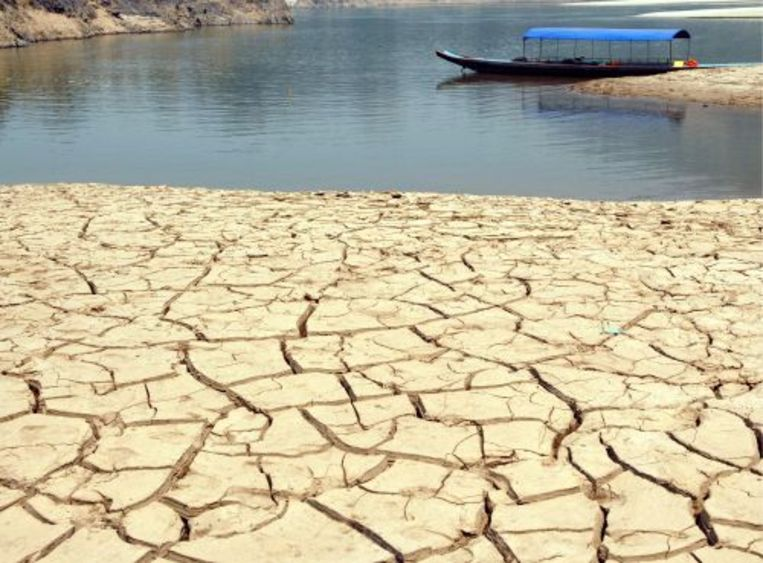 De droge bedding van de Mekongrivier. ANP Beeld