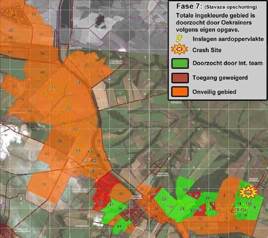Een kaart met overzicht van de doorzochte gebieden rondom de rampgebied van MH17 in Oekraïne