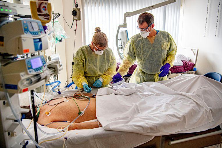 Een covid-19-patiënt wordt behandeld op de intensive care van het Albert Schweitzer Ziekenhuis in Dordrecht.  Beeld Getty Images