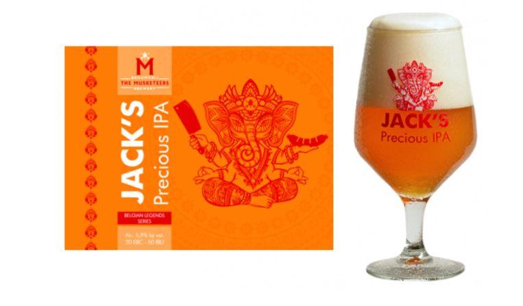 Op het etiket van het biertje 'Jack's Precious IPA' staat de god Ganesha afgebeeld.