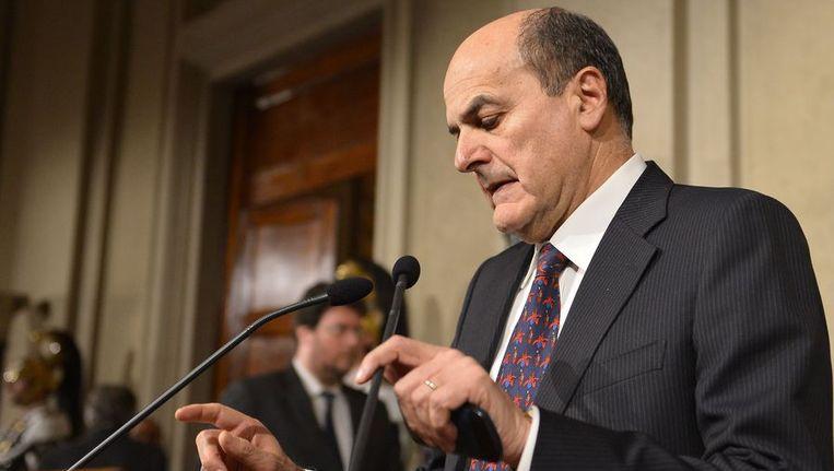 Bersani vandaag na het gesprek met de Italiaanse president Giorgio Napolitano. Beeld afp