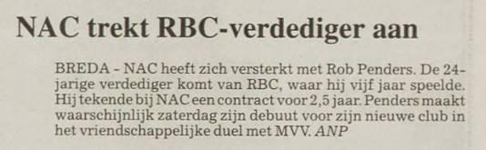 Het artikel in PZC nadat NAC Rob Penders heeft aangetrokken.