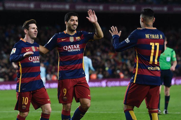Het supertrio van Barcelona: Messi, Suarez en Neymar. Beeld afp