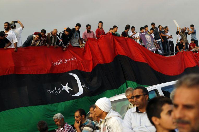 Betogers in de Libische stad Benghazi protesteren tegen het vredesplan van de VN in oktober. Beeld afp