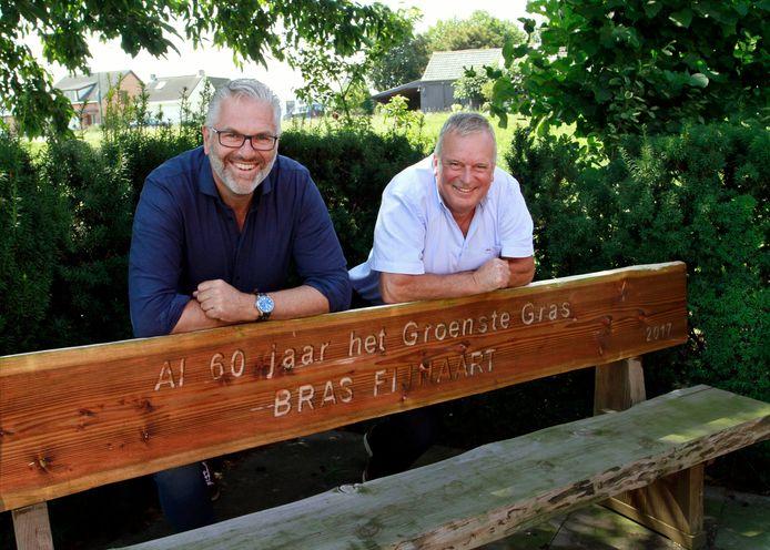 Goof Rijndorp ( links)  en Peter van den Eijnden van het groenbedrijf Bras Fijnaart