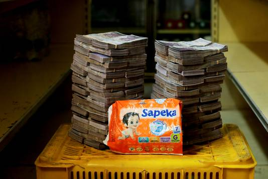 Un paquet de langes = 8.000.000 bolivars = 1 euro (août 2018)