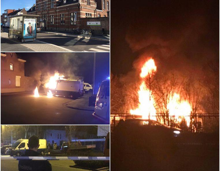 De hulpdiensten hadden hun handen vol met verschillende verdachte branden. Het Mechelse gerecht onderzoekt de vijf feiten van afgelopen weken. Van boven naar onder en van links naar rechts: de brand in de Nekkerspoelstraat, de brand in de Reinheidstraat, de brand in de Abeelstraat en de brand waarbij bestelwagens van de politie Brussel-Hoofdstad vernield raakten.