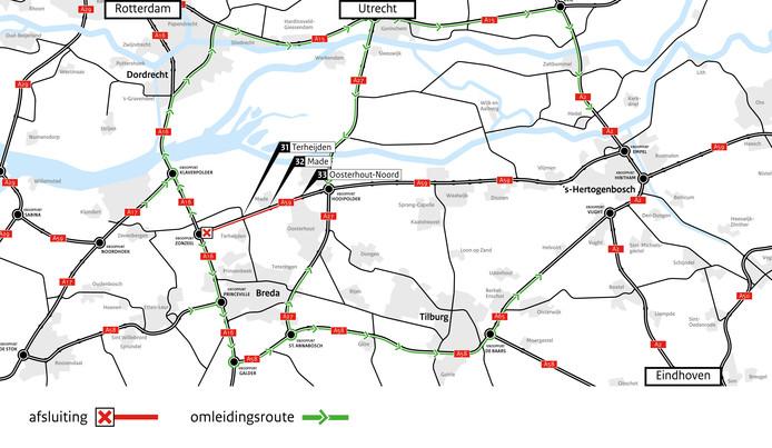 A59 deels afgesloten wegens onderhoud.