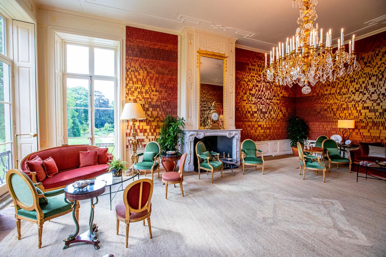 60.000 handgemaakte steentjes vormen een DNA-portret van koning Willem-Alexander, koningin Máxima en prinses Amalia op de muren van de Groene Salon in Paleis Huis ten Bosch.