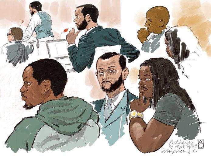 Rechtbanktekening van verdachten Anouar Taghi, Moreno B., Giërmo B. en hun advocaten.