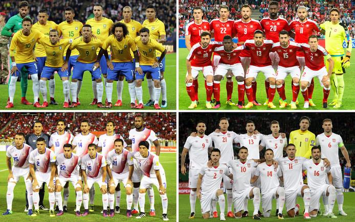 Groep E: Brazilië, Zwitserland, Costa Rica en Servië.