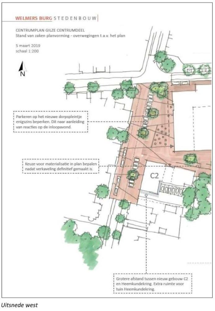 Een tekening van de plannen tot dusver voor het Centrumplan Gilze (west).