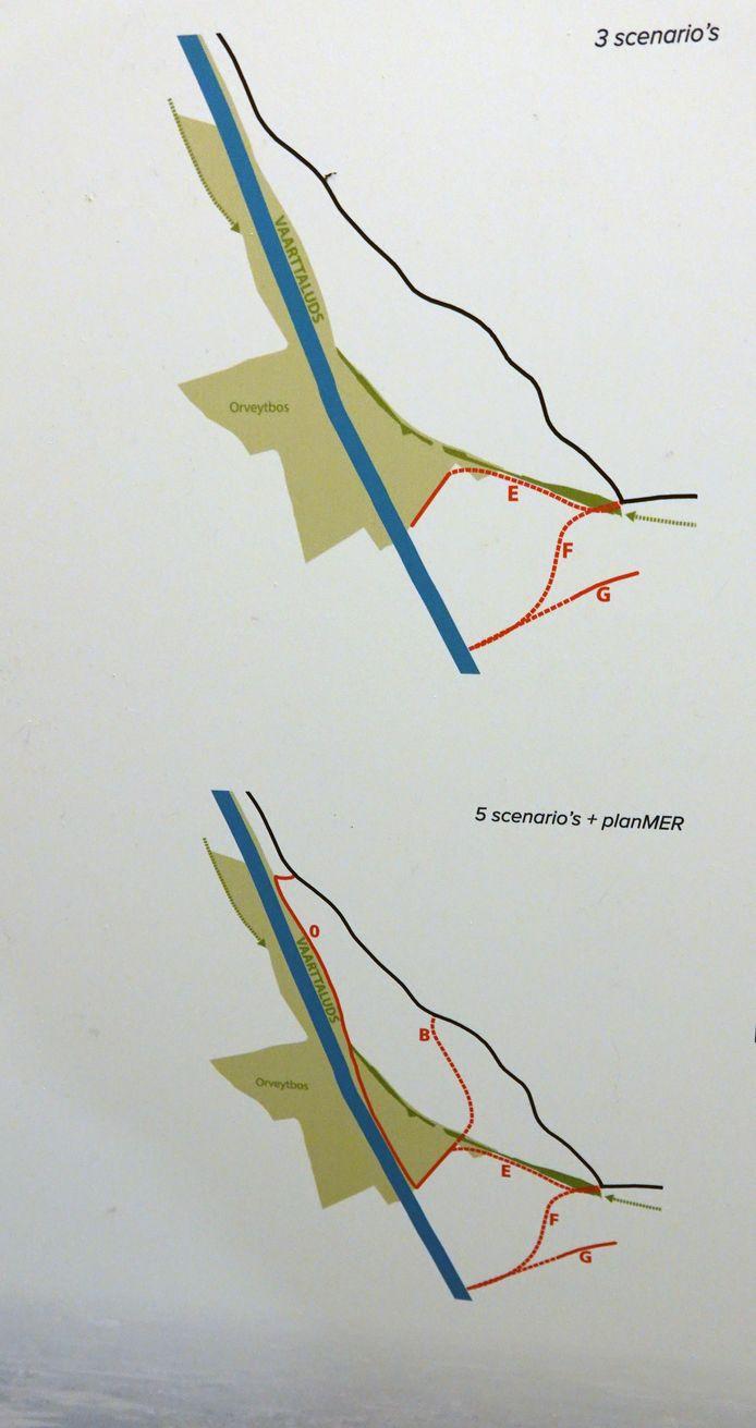 Omleidingsweg Imog en Moen-Trekweg: de verschillende scenario's die op tafel lagen.