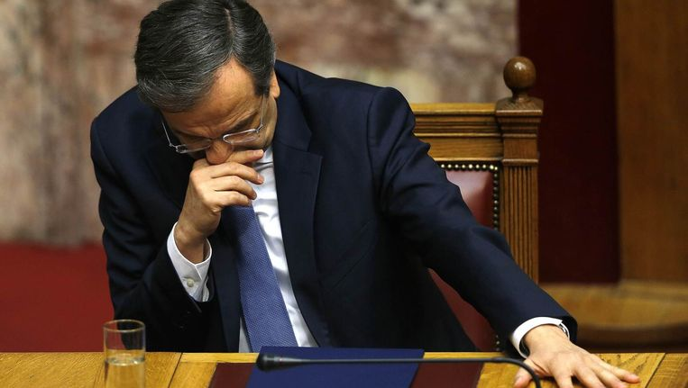 Aftredend premier van Griekenland Antonis Samaras.