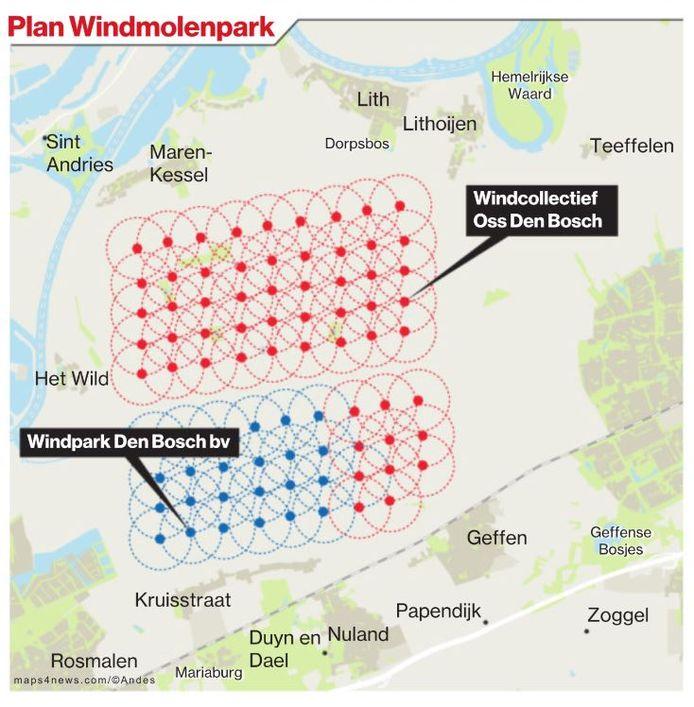 Hier komen de windmolens tussen Den Bosch en Oss.