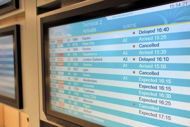 Air France-vluchten staan op 'cancelled' tijdens de twee weken durende staking. Beeld reuters