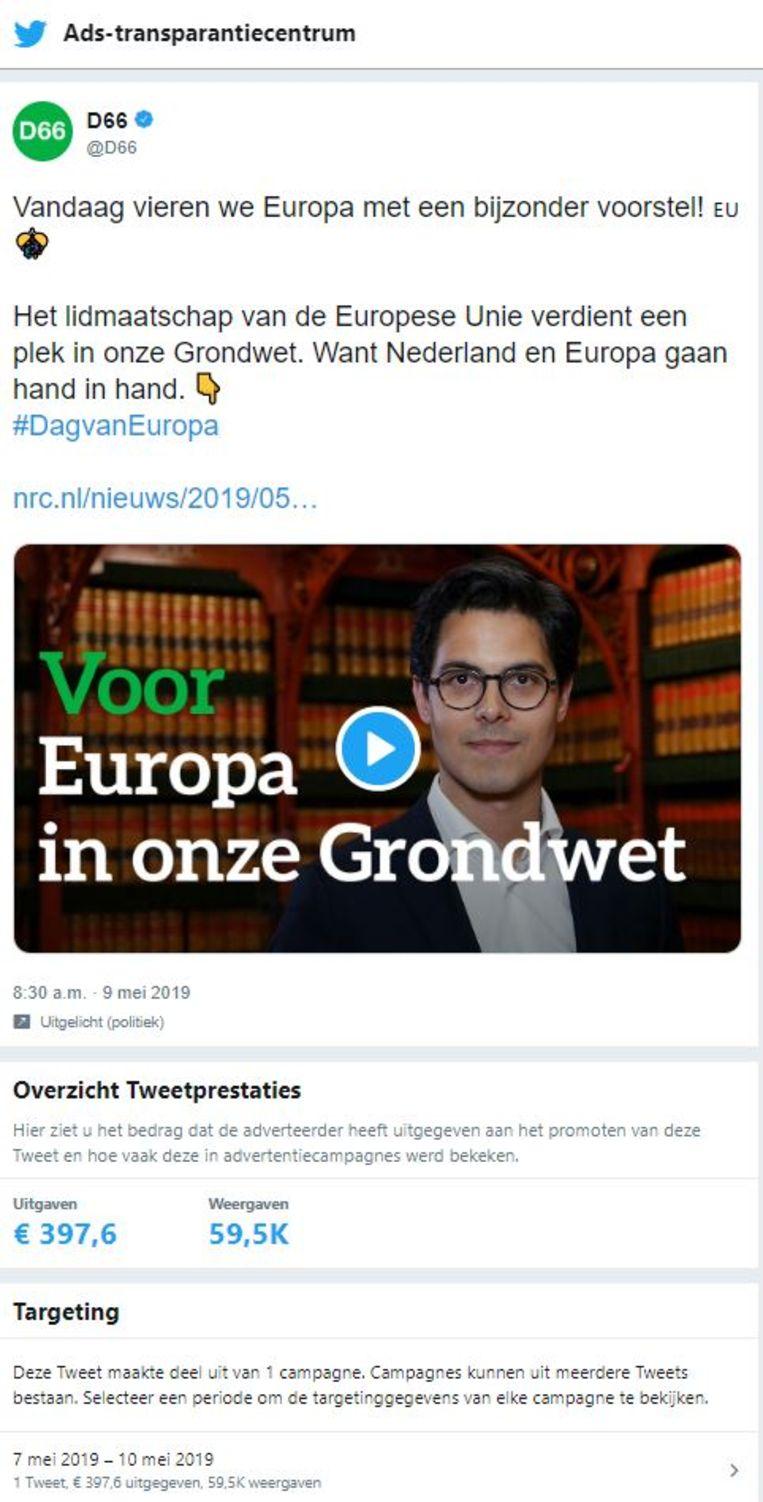 Gegevens over een D66-advertentie afkomstig van het advertentie-transparantiecentrum van Twitter. Beeld Twitter
