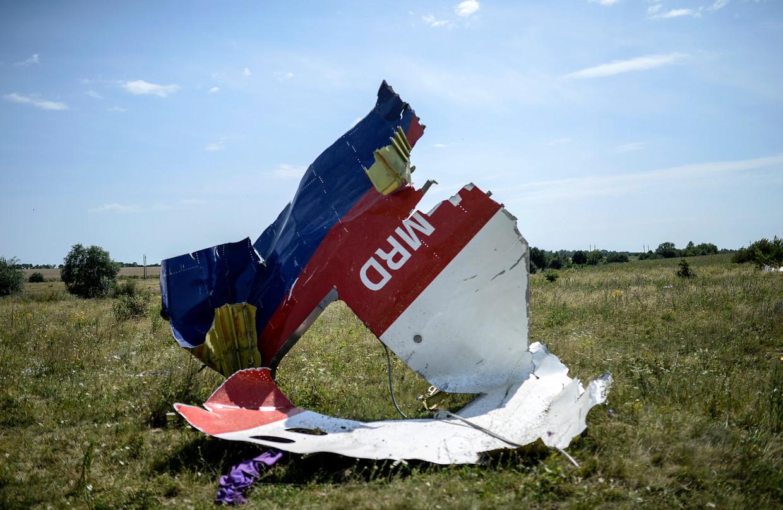 Een wrakstuk van vlucht MH17 in het weiland bij  Hrabove, in 2014. Beeld AFP