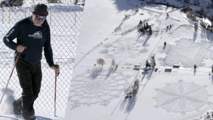Stap voor stap: kunstenaar loopt uren in de sneeuw voor prachtige tekeningen