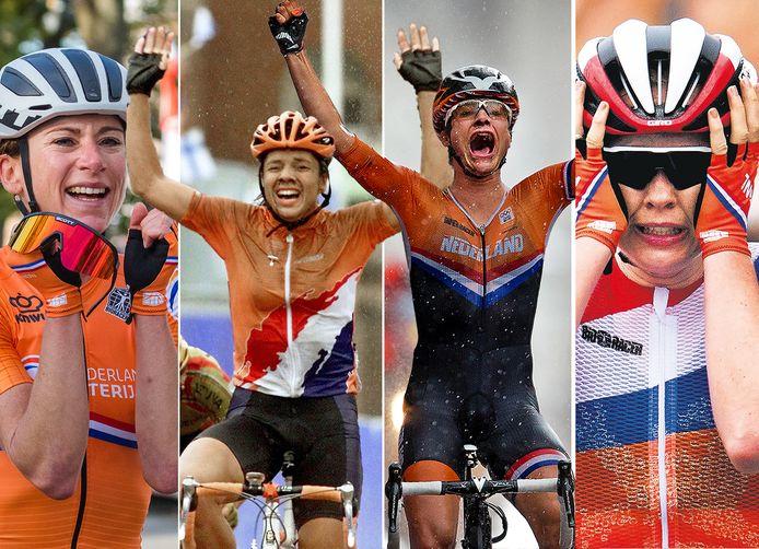 Vlnr: Annemiek van Vleuten wordt in Harrogate wereldkampioen (2019), Leontien van Moorsel pakt olympisch goud in Sydney (200), Marianne Vos wint olympisch goud in Londen (2012) en Anna van der Breggen is de beste bij de Olympische Spelen van Rio (2016).