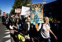 Demonstranten liepen eerder mee met een protestmars tegen het besluit om de edelherten in de Oostvaardersplassen af te schieten.