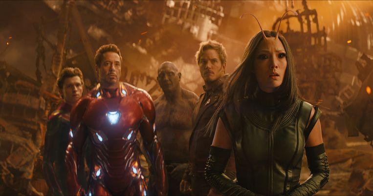 Van links naar rechts: Spider-Man/Peter Parker (Tom Holland), Iron Man/Tony Stark (Robert Downey Jr.), Drax (Dave Bautista), Star-Lord/Peter Quill (Chris Pratt) and Mantis (Pom Klementieff) Beeld RV