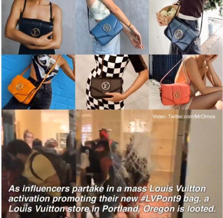 Met gepolijste kiekjes proberen influencers een Louis Vuitton-tas aan de vrouw te krijgen op Instagram, terwijl in Oregon een Vuitton-winkel het decor werd van een boze menigte. Beeld Instagram