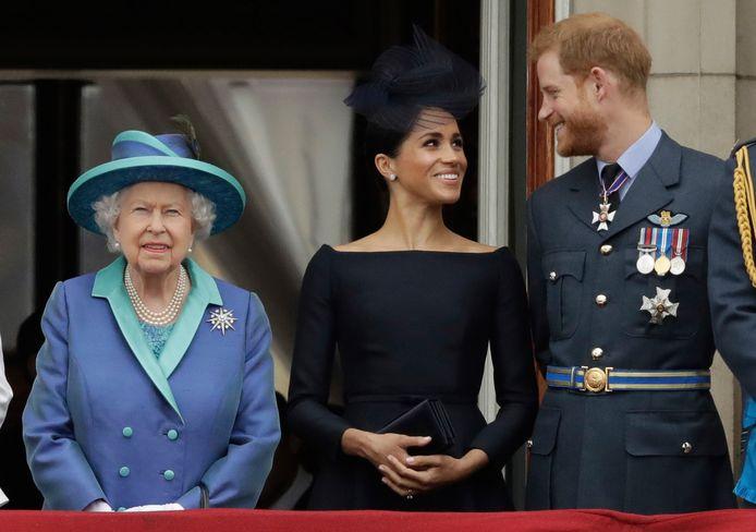 Queen Elizabeth en Harry en Meghan in 2018.