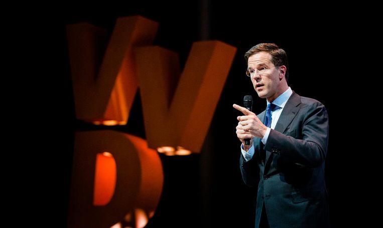 25 MAART, NIEUWGEIN: Op het najaarscongres van de VVD blikt Mark Rutte, inmiddels opnieuw premier, terug: 'Dit was iets heel fundamenteels... Blijf van mijn land af!' Beeld anp