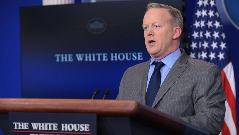Sean Spices, Trumps persvoorlichter: 'Dit was de grootste menigte die ooit een inauguratie heeft bijgewoond, punt uit!' Beeld anp