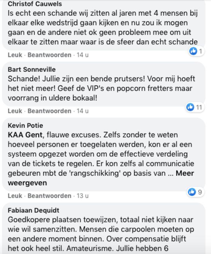 Enkele reacties op de Facebookpagina van KAA Gent.