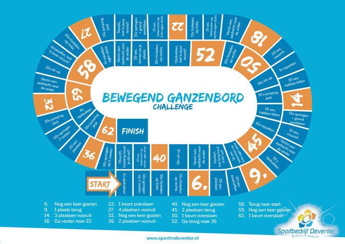 Bewegend ganzenbord. Een cadeautje van de gymdocenten van Sportbedrijf Deventer aan de kinderen van de stad. Maar of de ouders mee gaan doen?