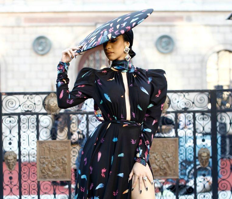Cardi B bij de ETAM fashion show in Parijs.
