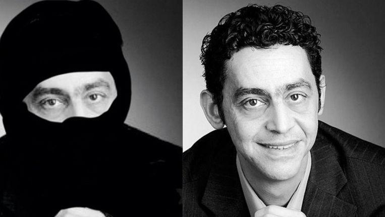 Fouad Sidali met en zonder nikab. Beeld