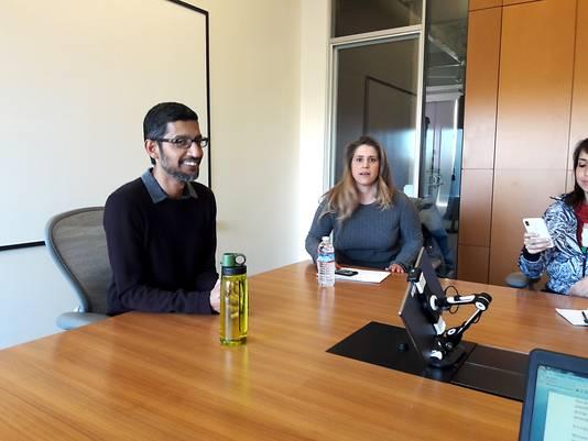 Sundar Pichai in gesprek met AD op de Google Campus in Mountain View, Californië.