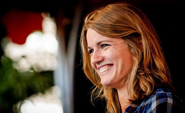 Dafne Schippers tijdens de huldiging van de Olympische sporters op het Stadhuisplein in Utrecht Beeld null